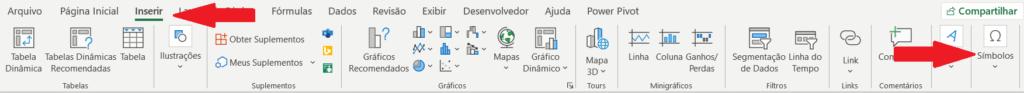 Faixa de Opções com o ícone Símbolo