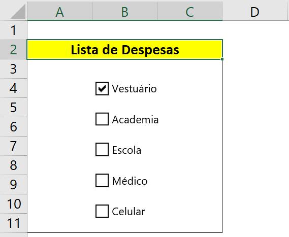 Exemplo Caixa de Seleção