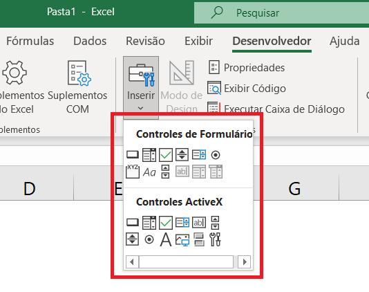 Controles de Formulário e Controles de ActiveX