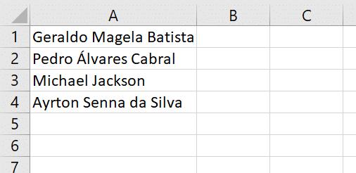 Lista de nomes para exemplo.